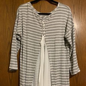 Gray shirt with white stripes